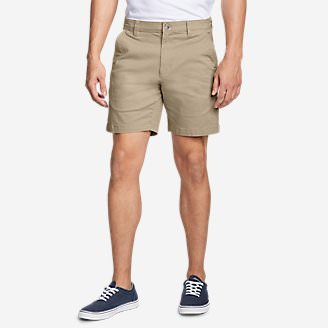 Men's Legend Wash Flex Chino 7' Shorts - Slim in Beige