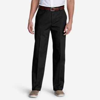 Men's Performance Dress Flat-Front Khaki Pants - Classic Fit in Black