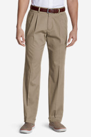 Men's Performance Dress Pleated Khaki Pants - Classic Fit in Beige