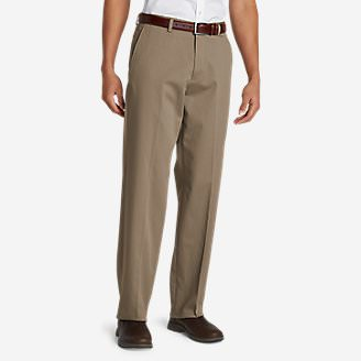Men's Performance Dress Flat-Front Khaki Pants - Relaxed Fit in Beige