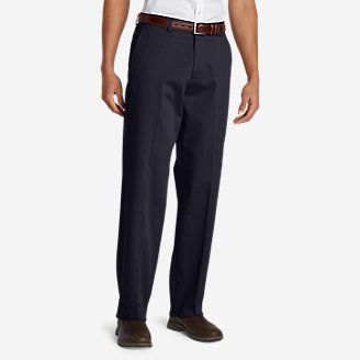 Men's Performance Dress Flat-Front Khaki Pants - Relaxed Fit in Blue