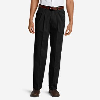 Men's Wrinkle-Free Relaxed Fit Pleated Performance Dress Khaki Pants in Black