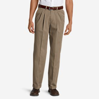 Men's Wrinkle-Free Relaxed Fit Pleated Performance Dress Khaki Pants in Beige