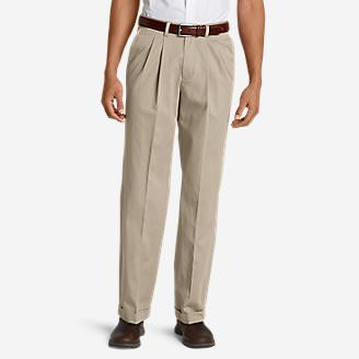 Men's Wrinkle-Free Relaxed Fit Pleated Performance Dress Khaki Pants in White