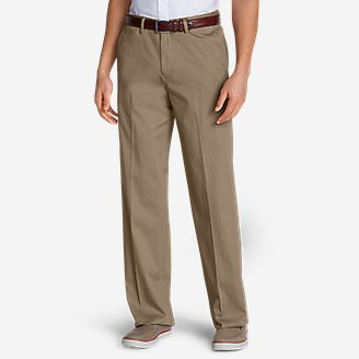 Men's Wrinkle-Free Relaxed Fit Comfort Waist Flat Front Performance Dress Khaki Pants in Beige