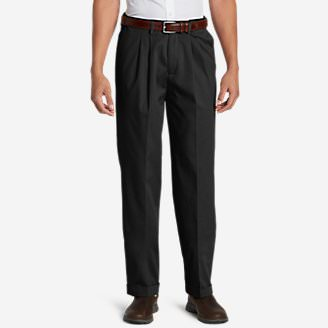 Men's Performance Dress Comfort Waist Pleated Khaki Pants - Relaxed Fit in Gray