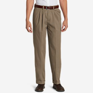 Men's Performance Dress Comfort Waist Pleated Khaki Pants - Relaxed Fit in Beige