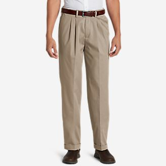 Men's Performance Dress Comfort Waist Pleated Khaki Pants - Relaxed Fit in White