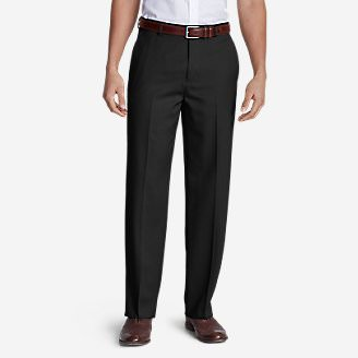Men's Relaxed Fit Flat-Front Wool Gabardine Trousers in Black