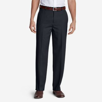 Men's Relaxed Fit Flat-Front Wool Gabardine Trousers in Blue