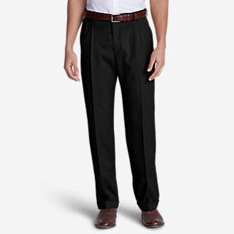Men's Wool Gabardine Trousers - Pleated in Black