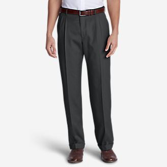 Men's Wool Gabardine Trousers - Pleated in Gray