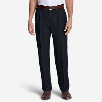Men's Wool Gabardine Trousers - Pleated in Blue