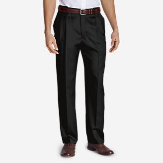 Men's Relaxed Fit Pleated Comfort Waist Wool Gabardine Trousers in Black