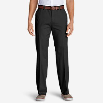 Men's Casual Performance Chino Flat-Front Pants - Classic Fit in Black