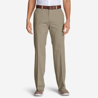 Men's Casual Performance Chino Flat-Front Pants - Classic Fit in Beige