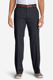 Men's Casual Performance Chino Flat-Front Pants - Classic Fit in Blue