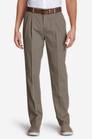 Men's Wrinkle-Free Classic Fit Pleated Casual Performance Chino Pants in Beige