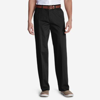 Men's Casual Performance Chino Flat-Front Pants - Relaxed Fit in Black