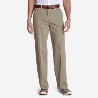 Men's Casual Performance Chino Flat-Front Pants - Relaxed Fit in Beige