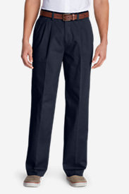 Men's Wrinkle-Free Relaxed Fit Pleated Casual Performance Chino Pants in Blue