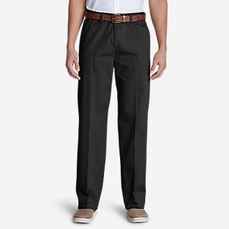 Men's Wrinkle-Free Relaxed Fit Comfort Waist Flat Front Casual Performance Chino Pants in Black