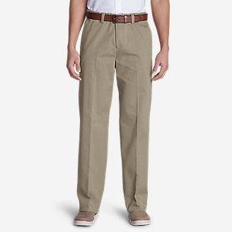 Men's Wrinkle-Free Relaxed Fit Comfort Waist Flat Front Casual Performance Chino Pants in Beige
