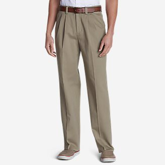 Men's Wrinkle-Free Relaxed Fit Comfort Waist Casual Performance Chino Pants in Beige