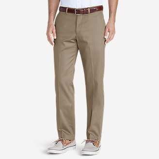 Men's Wrinkle-Free Slim Fit Flat-Front Performance Dress Khaki Pants in Beige