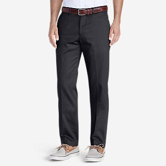 Men's Wrinkle-Free Slim Fit Flat-Front Performance Dress Khaki Pants in Blue