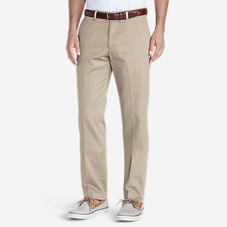 Men's Wrinkle-Free Slim Fit Flat-Front Performance Dress Khaki Pants in White