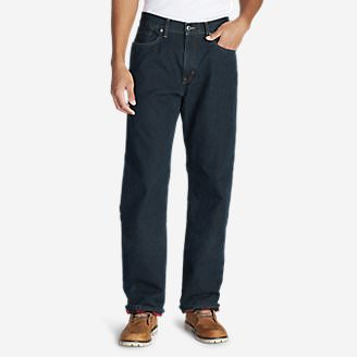 Men's Flannel-Lined Jeans - Relaxed Fit in Blue