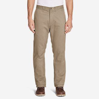 Men's Flannel-Lined Chinos in Brown