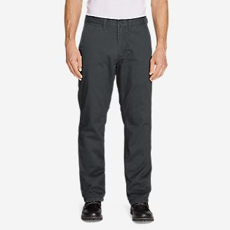 Men's Flannel-Lined Chinos in Gray