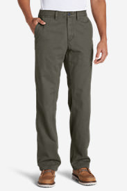 Men's Flannel-Lined Chinos in Green