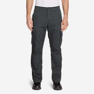 Men's Flannel-Lined Cargo Pants in Gray