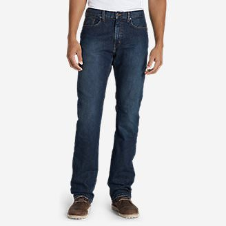 Men's Flannel-Lined Flex Jeans - Straight Fit in Red