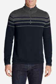 Men's Signature Cotton Variegated 1/4-Zip Mock Sweater in Blue