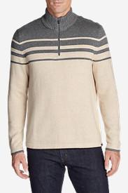 Men's Signature Cotton Variegated 1/4-Zip Mock Sweater in Beige