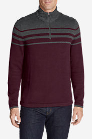 Men's Signature Cotton Variegated 1/4-Zip Mock Sweater in Red