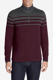 Men's Signature Cotton Variegated 1/4-Zip Mock Sweater in Red