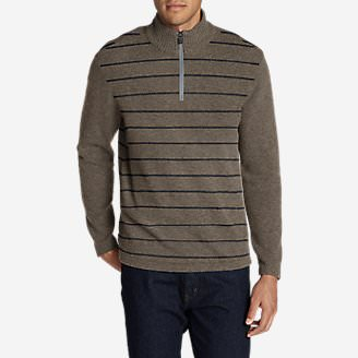 Men's Long-Sleeve Sidecut 1/4-Zip Sweater in Beige