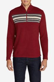 Men's Long-Sleeve Sidecut 1/4-Zip Sweater in Red