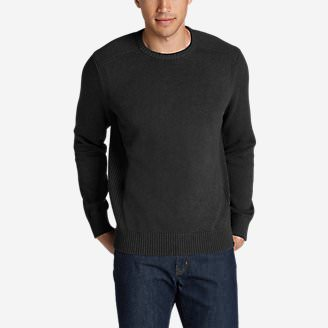 Men's Signature Cotton Crew Sweater in Black