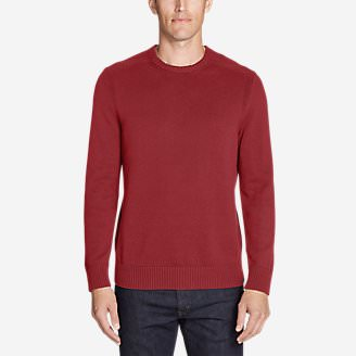 Men's Signature Cotton Crew Sweater in Red
