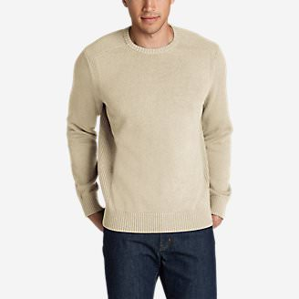 Men's Signature Cotton Crew Sweater in Beige
