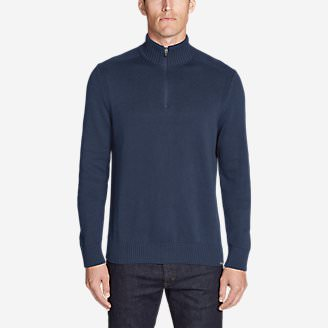 Men's Signature Cotton 1/4-Zip Sweater in Blue