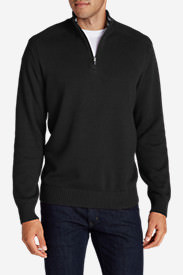 Men's Signature Cotton 1/4-Zip Sweater in Black