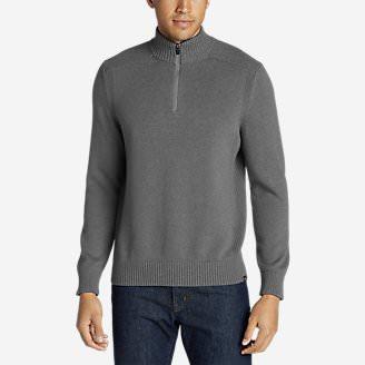 Men's Signature Cotton 1/4-Zip Sweater in Gray