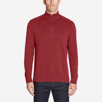 Men's Signature Cotton 1/4-Zip Sweater in Red